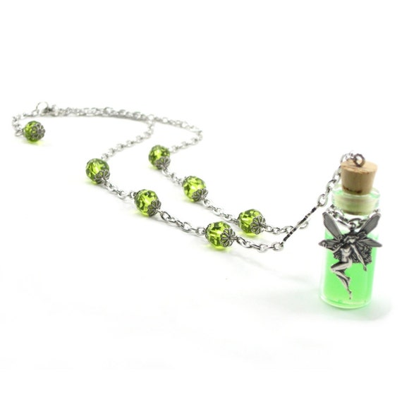 Gothic Necklace - Absinthe Bottle Pendant with Black Light Reactive Resin - The Ghost of the Green Fairy - By Ghostlove