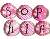 Personalised glass gem magnets - pink