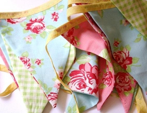 Cotton Fabric Bunting 'Summer Rose'