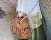 Set of 3 Rustic Custom personalized wood wine bottle gift tags for wedding reception, bridal shower, birthday, anniversary, celebration