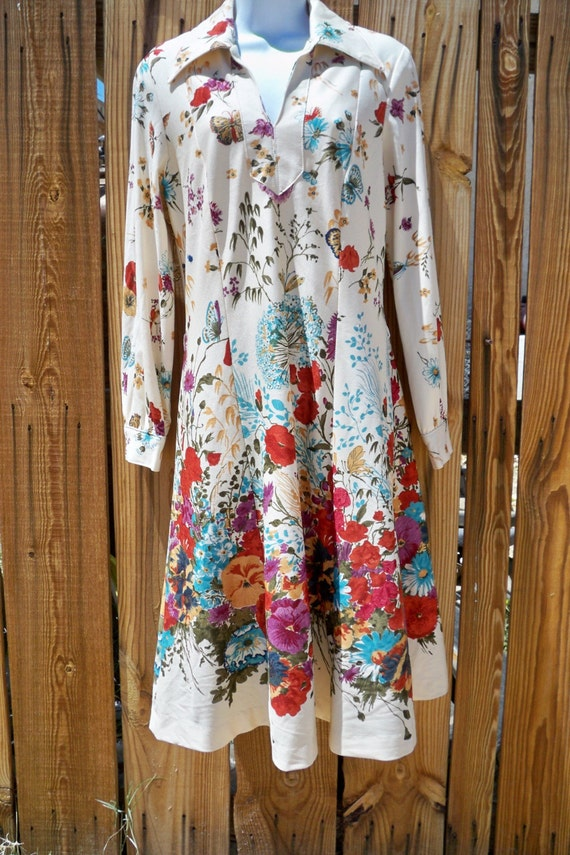 Floral and butterfly dress for spring summer