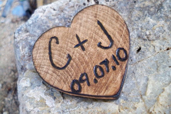 Personalized, custom rustic engraved heart magnet, wedding or engagement announcement, engraved initials, gift for him or her