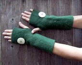 Upcycled Wool Felted Kelly Green Arm Warmers Fingerless Gloves Adorn With Big Button