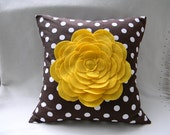 Brown And White Polka Dot Yellow Felt Oversize Zinnia Pillow Cover Sofa Pillow Cushion Cover 18X18