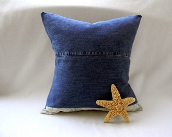 "Blue Denim Nautical Pillow Cover Cushion Cover Sofa Pillow 16""X16"""
