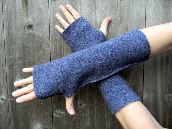 Upcycled Women  Wool Arm Warmers Fingerless Gloves Wrist Warmers In Blue