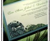 50 Custom Designed ZARA Lovebirds Peacock Themed Wedding Invitations