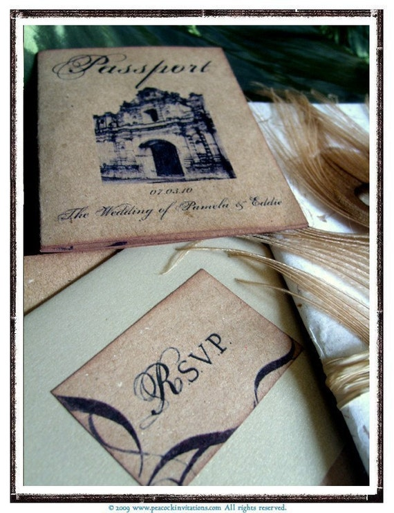 RUSH ORDER 100 PAMELA St. Lucia Vintage Colonial Passport Wedding Invitations