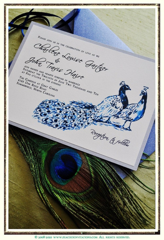 CHARLENE Peacock Themed Wedding Invitations in Silver Sapphire and Slate Blue