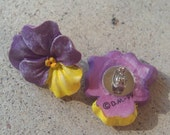 Purple and Yellow Pansy Stud Earrings
