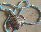 Silver Sea Turtle - Light Blue