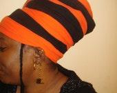 Orange Mocha Cotton Headwrap- Color Block Headwrap-Hair Covering- Cotton Turban