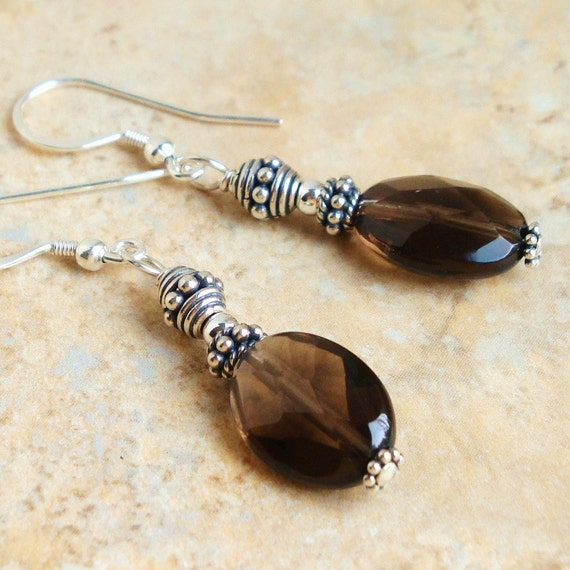 Smoky Quartz and Bali Sterling Silver EARRINGS - Handmade