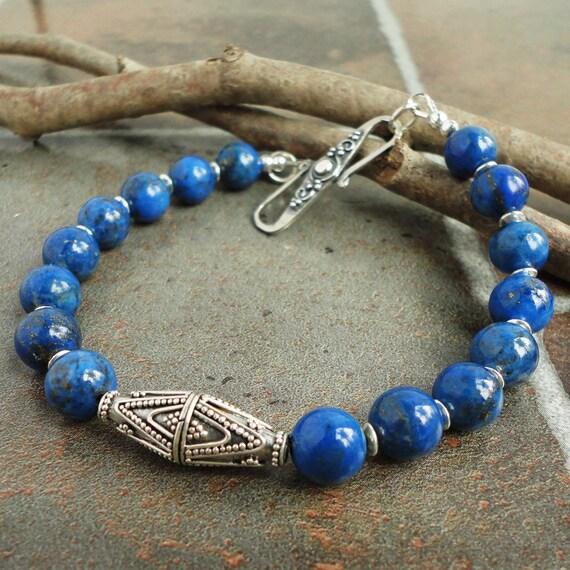 Denim Lapis Mens Bracelet, Bali Artisan Sterling Silver, Gemstone, Handmade
