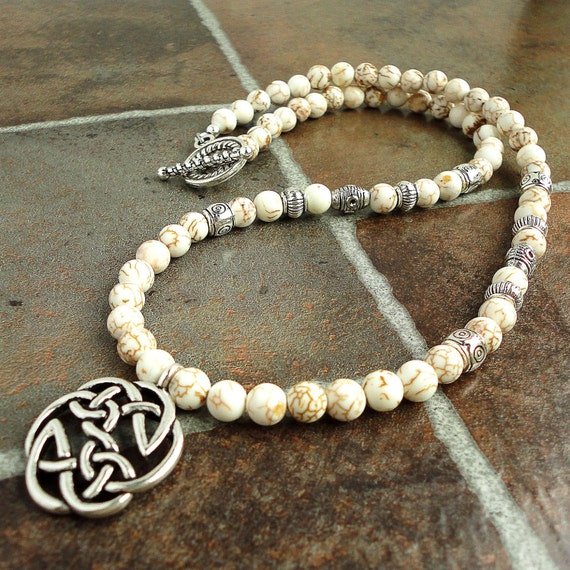 Mens Necklace, Celtic Metal Pendant, White Magnesite Stone, Handmade Mens Jewelry