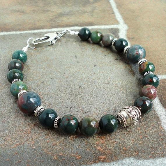 Bloodstone Bracelet for Men Bali Sterling Silver Gemstone   570 x 570 jpeg 94kB