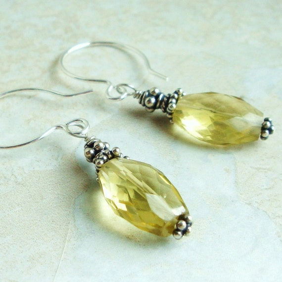 Lemon Quartz Earrings, Bali Sterling Silver, Gemstone, Handcrafted, Gift for her