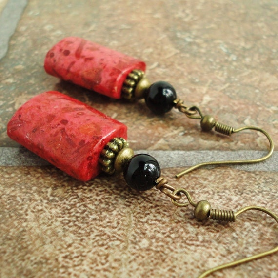 Red Sponge Coral & Black Onyx Earrings, Antiqued Brass Style, Handcrafted