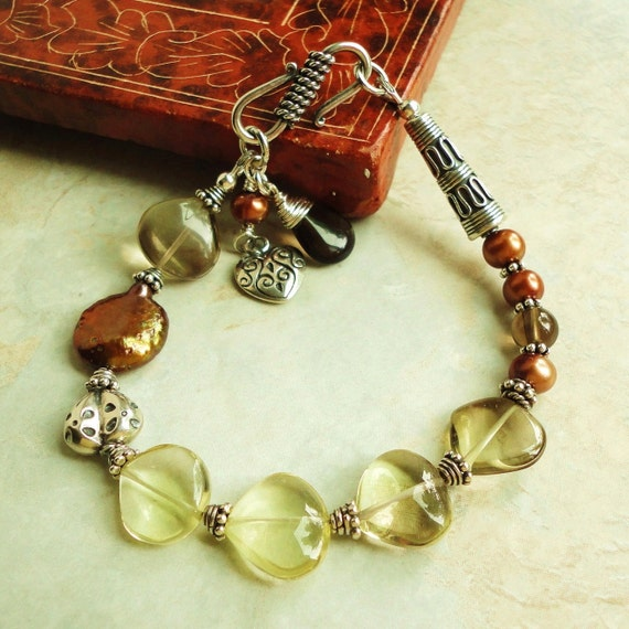Lemon Smoky Quartz, Pearl, and Bali 925 Sterling Silver BRACELET, Artisan Jewelry