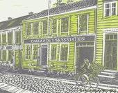 NEW \/ The best fish soup in Trondheim \/ Original Linocut Print