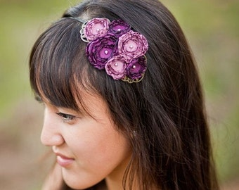 Plum Flower Headband with Swarovski and Filigree Detail