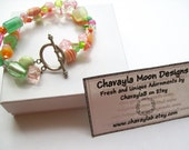 Refreshing Sherbet Two Strand Bracelet with Sterling Silver Toggle Clasp.