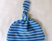 Blue Stripes Top Knot Newborn Hat - Organic