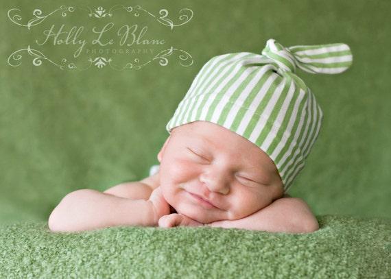 Organic Cotton Top Knot Newborn Hat -Leaf Green Stripes