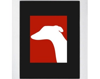 Red Greyhound Silhouette Modern Dog Art Print 8x10