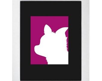 Purple Chihuahua Silhouette Modern Dog Art Print 8x10