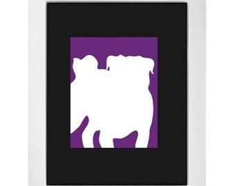 Indigo Pug Silhouette Modern Dog Art Print 8x10