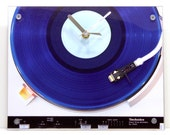 Mens Dorm Clock : Retro Blue Record Player Clock