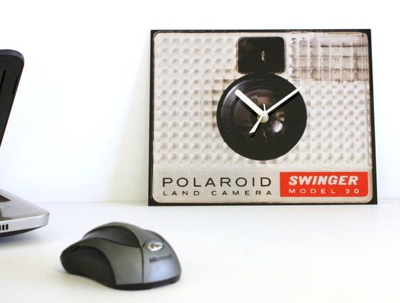 End of Summer Sale. Modern Urban Wall Clock : Metal Polaroid Red Silver Wall Clock