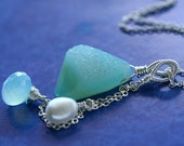 SALE Cayman Trio - Three In One Neckalce, Aqua Drusy Pendant, Peruvian Chalcedony Briolette, Fresh Water Pearl, Sterling Silver