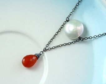 SALE Marshmallow and Currant Necklace - Coin Pearl and Carnelian Briolette, Oxidized Sterling Silver