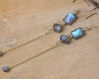 Siren Song - AAA Labradorite Faceted  Dangle Earrings, Gold Filled