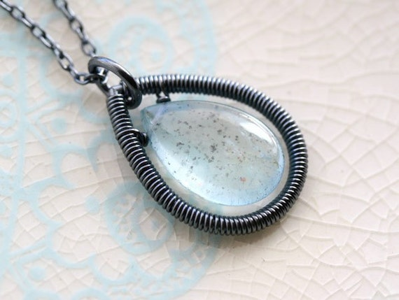 Moss Aquamarine Drop Necklace, Oxidized Sterling Silver
