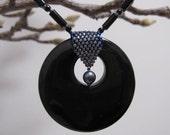 Black Pearl Elegance beaded necklace OOAK