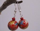 Origami Crane Painted earrings