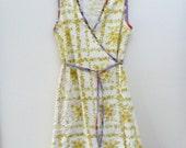 womens lemon daisy wrap dress - custom listing for kim
