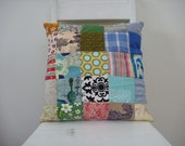 patchwork cushion in happenstance squares size 40cm