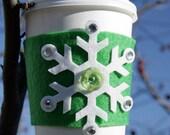 Snowflake Coffee Cozy - Green
