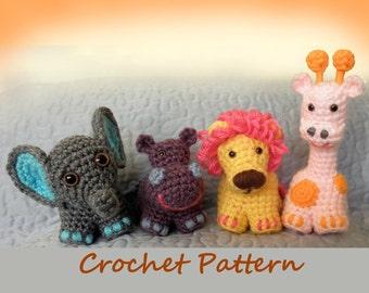 Safari Friends Crochet Critters or Mobile - PDF Crochet Pattern