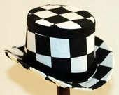 Black and White Checkered Mini Top Hat