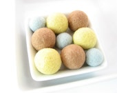 SALE 9 felted round wool beads (lemon, wheat, light blue)