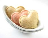 Creamy felt Valentine's hearts (high quality)