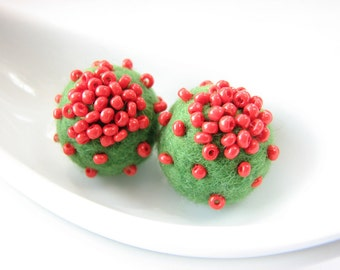 Felted wool balls decorated with black seed beads // green // red seed beads decor // Round balls,  wool ornaments, pom poms, flower stamen