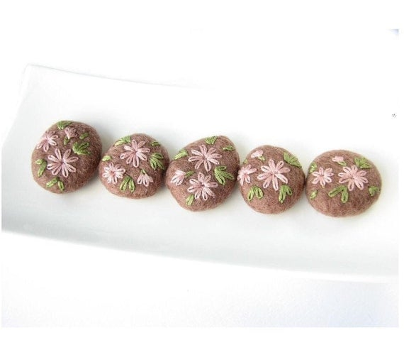 Set of flat cappuccino brown felted wool beads with floral ornaments (green, tea rose)
