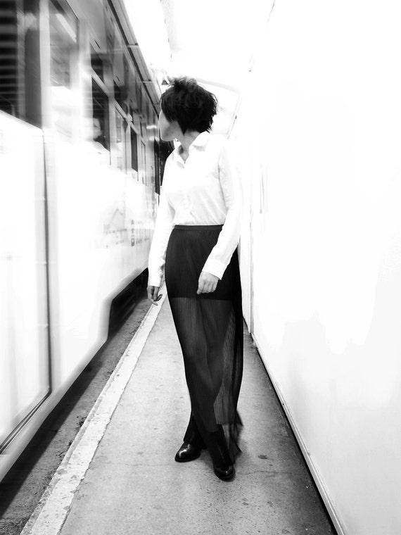 sheer maxi skirt chiffon fashion pleated minimal simple