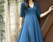 Sale-  Classic V-Neck Dress- Shown in Cerulean Blue, sizes xs, s, m,l, xl